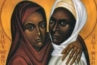 ID: an icon of two dark-skinned people, who I read as women. There is text in Ge'ez script on a golden yellow background behind them. The woman on the left is wearing a dark red headcovering, and the woman on the right is wearing a white headcovering. They are only visible from the shoulders up. These two women are identified as Shiphrah and Puah.