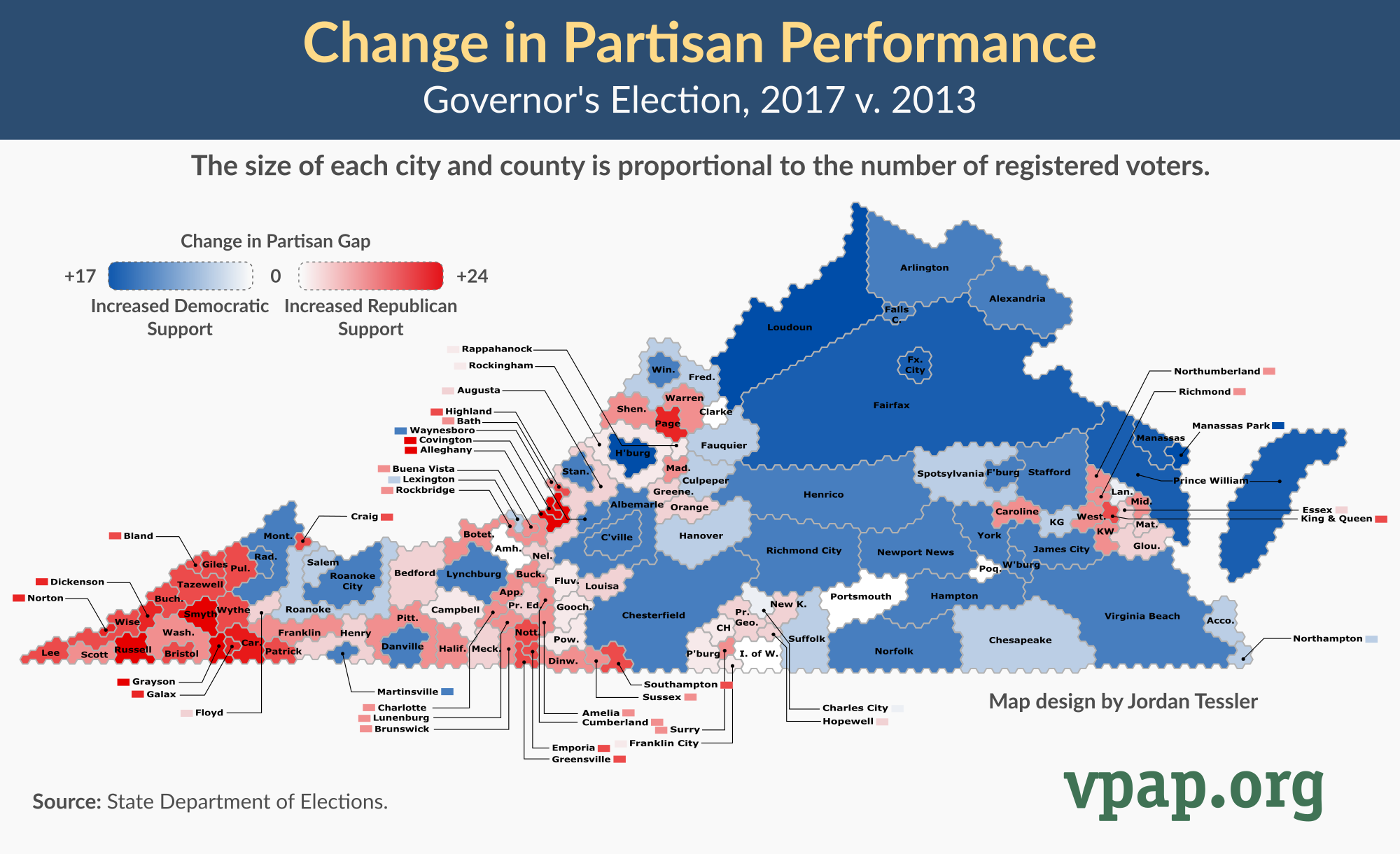Visualization: Change in Partisan Performance, Governor's Election, 2017 v 2013