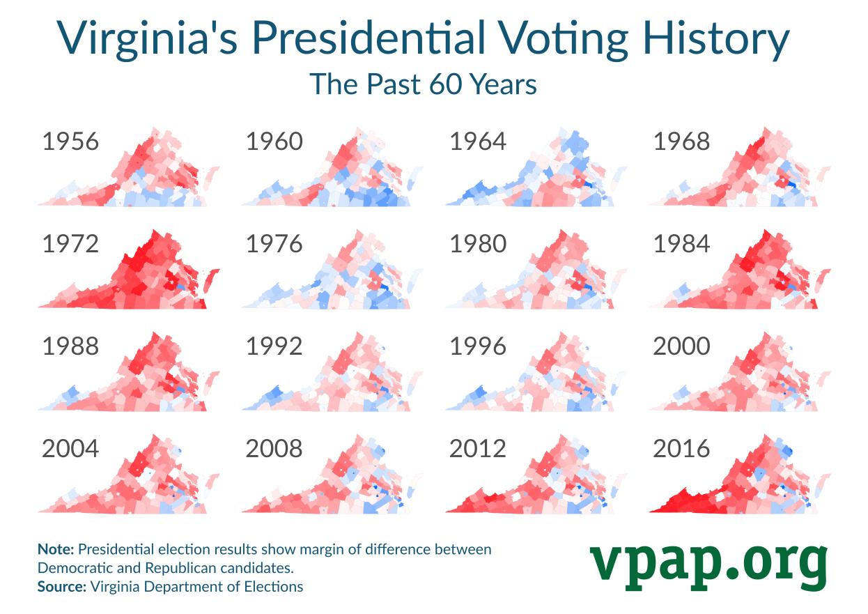 Virginia's Presidential Voting History: 1956-2016