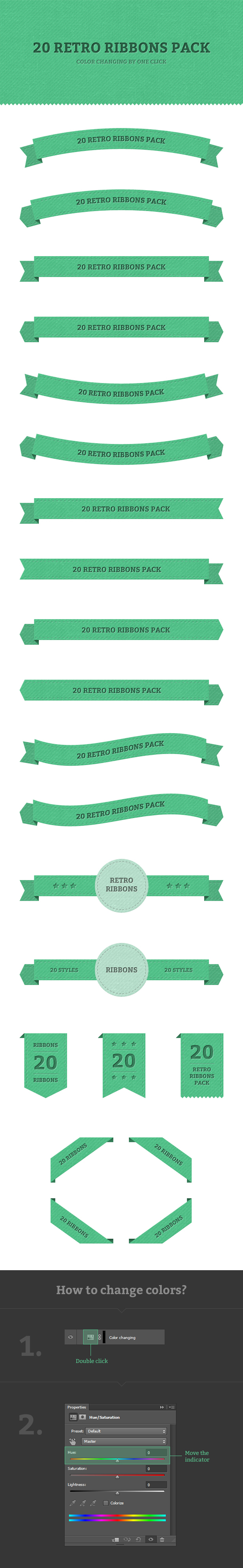 30 Stitched Retro Ribbon Banner PSD Pack