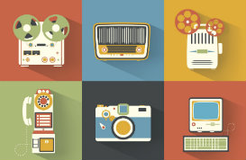 Bright Vintage Electronic Vector Icons
