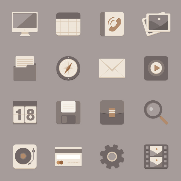Icon Vector and PSD Set