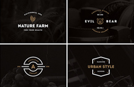 Copper and White Vintage Label Vectors
