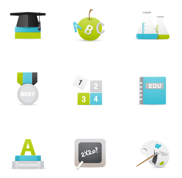 Teal and Green Education Vector Icons