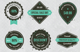 Emerald Grungy Sale Label Vectors