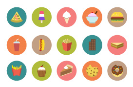 Flat Food Icon Vector Pack