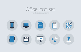 Chilly Blue Office Icon Vectors