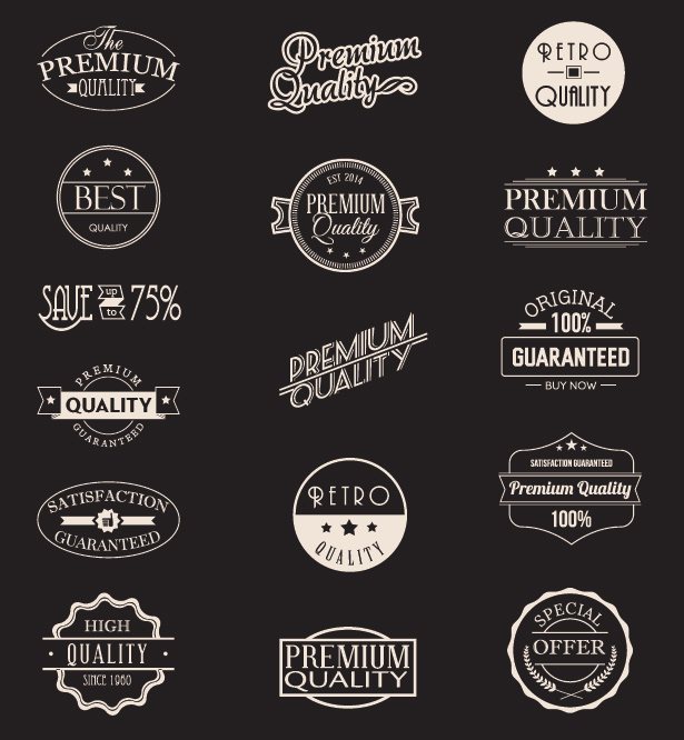 Premium Quality and Guarantee Badge Vectors & PSD Pack
