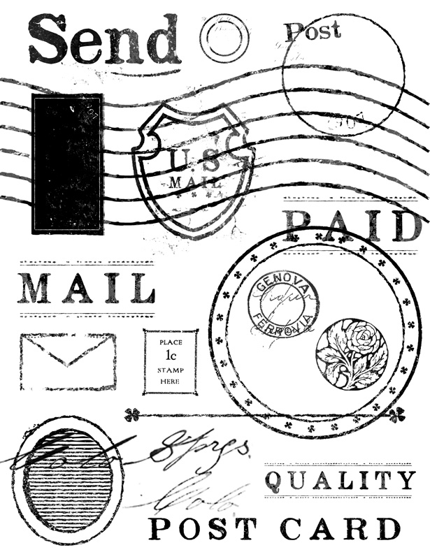 Vintage Mail and Stamp Brushes Pack