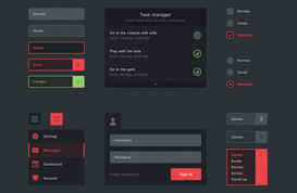 Black Flat UI PSD Kit