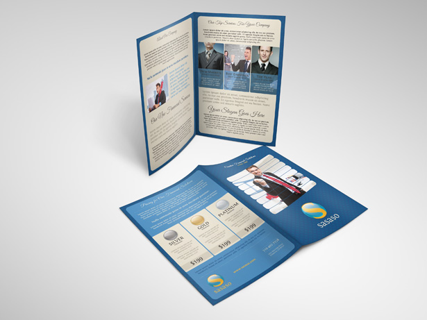 Blue Bifold Brochure PSD Template Pack