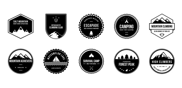 Camping Badges PSD Pack