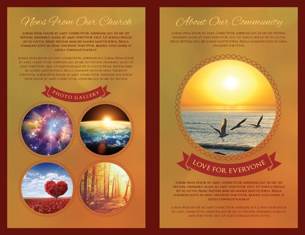 Gold and Red Church Brochure PSD Template