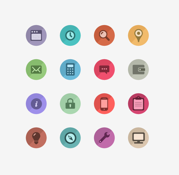 Colorful Flat Icon Vector Set