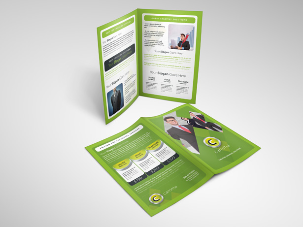 Green Bifold Brochure PSD Template Pack