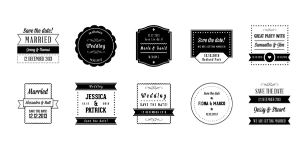 Wedding Badges PSD Pack