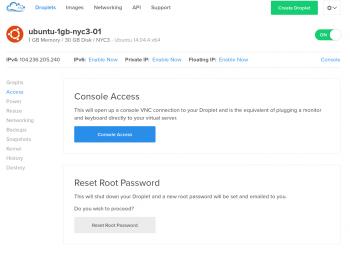 Docean Console Access