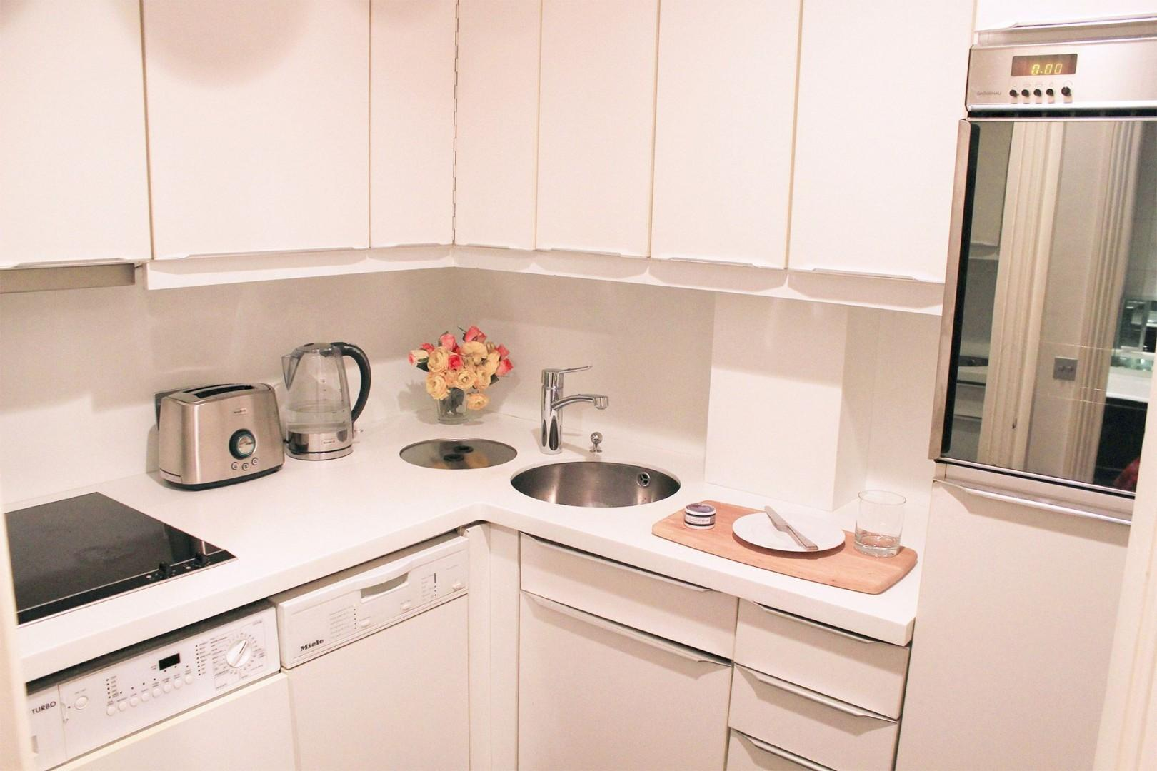 Fully equipped London kitchen for light meals at home