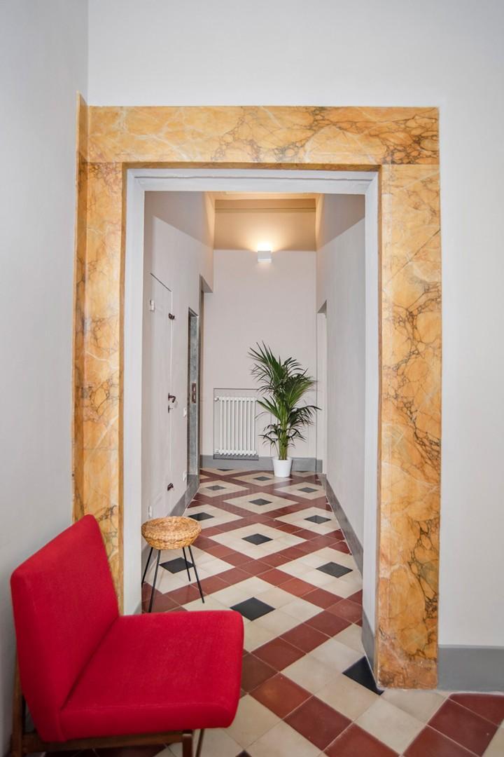 Happy tile floor in the main level hallway.