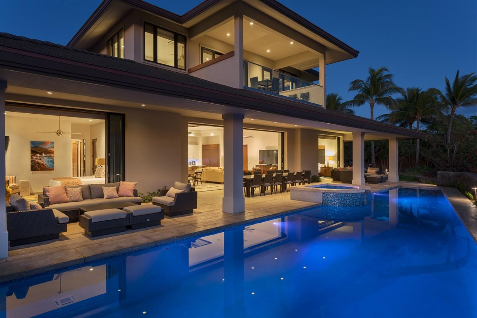 One of a kind location and home - private pool, spa, and expansive outdoor living at sunset.