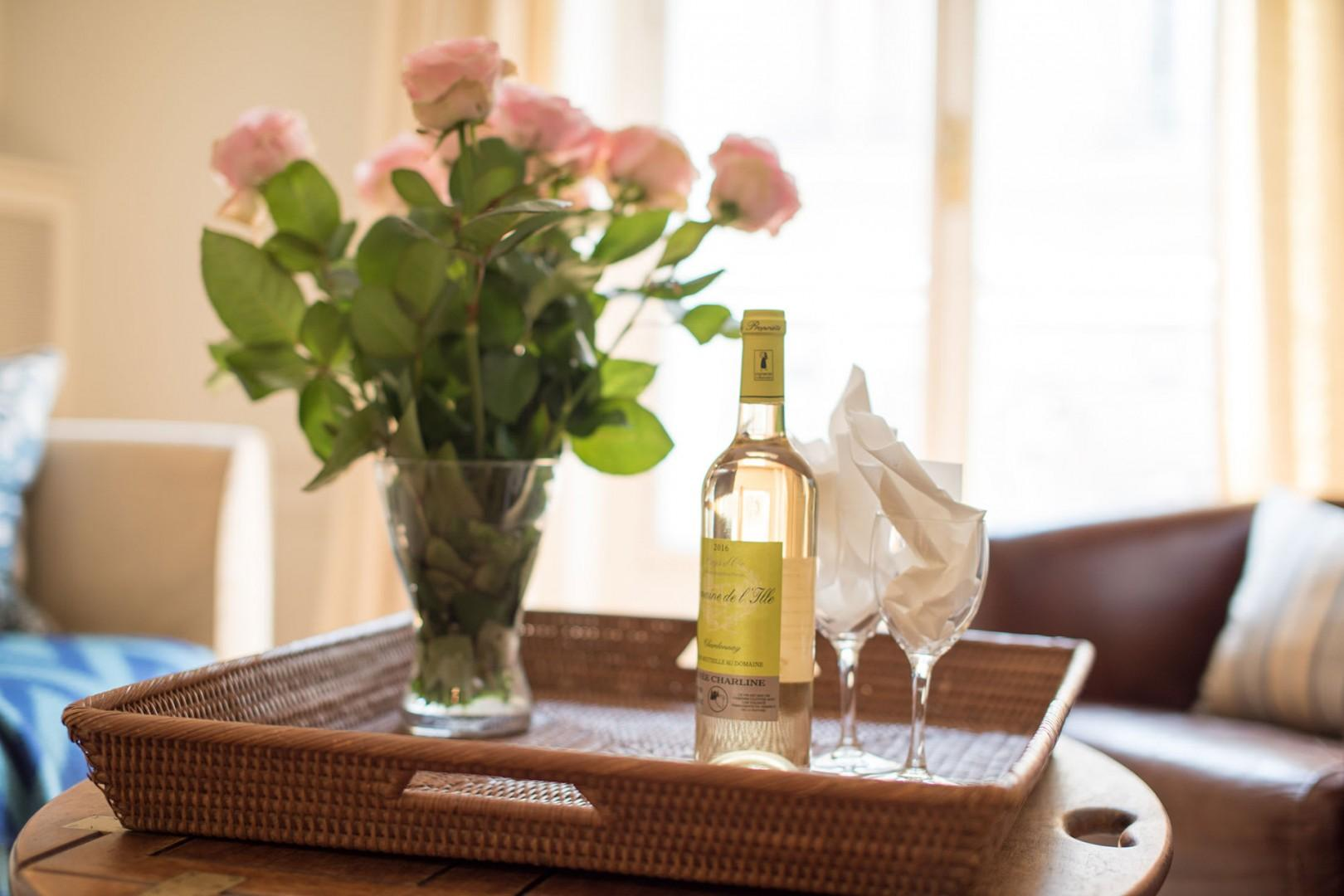 Toast your arrival with a lovely French wine!