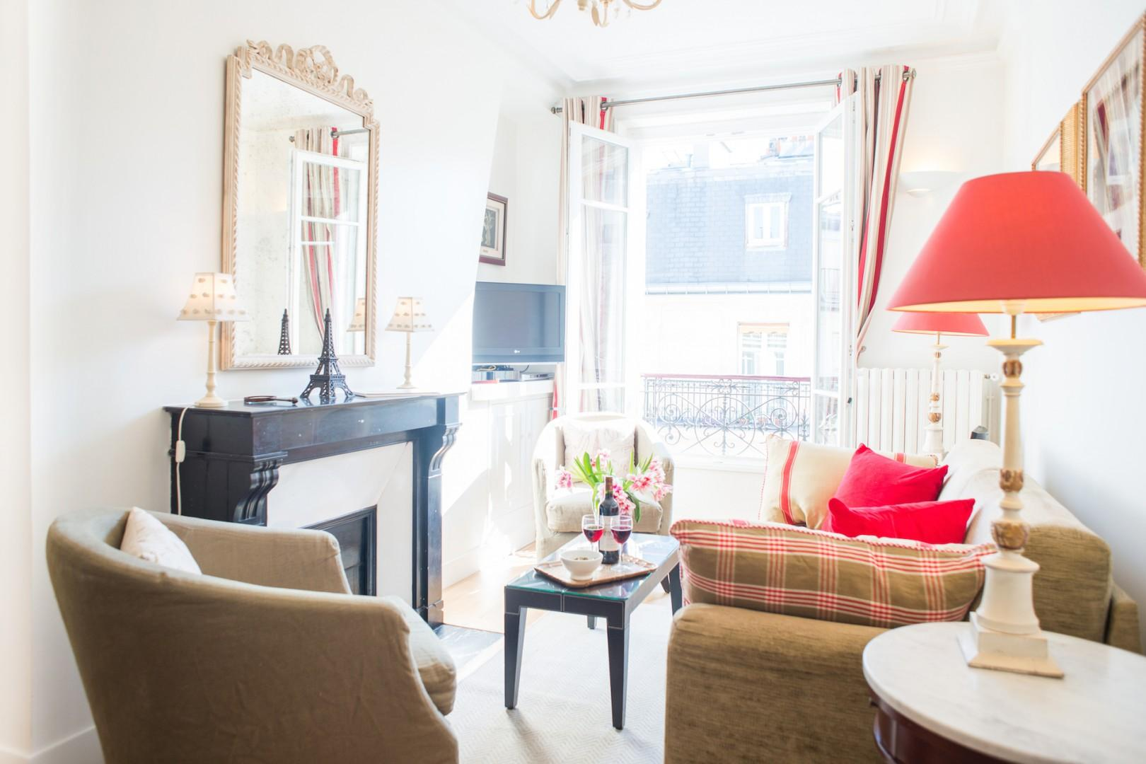 Large French windows provide, sunlight, fresh air and views.
