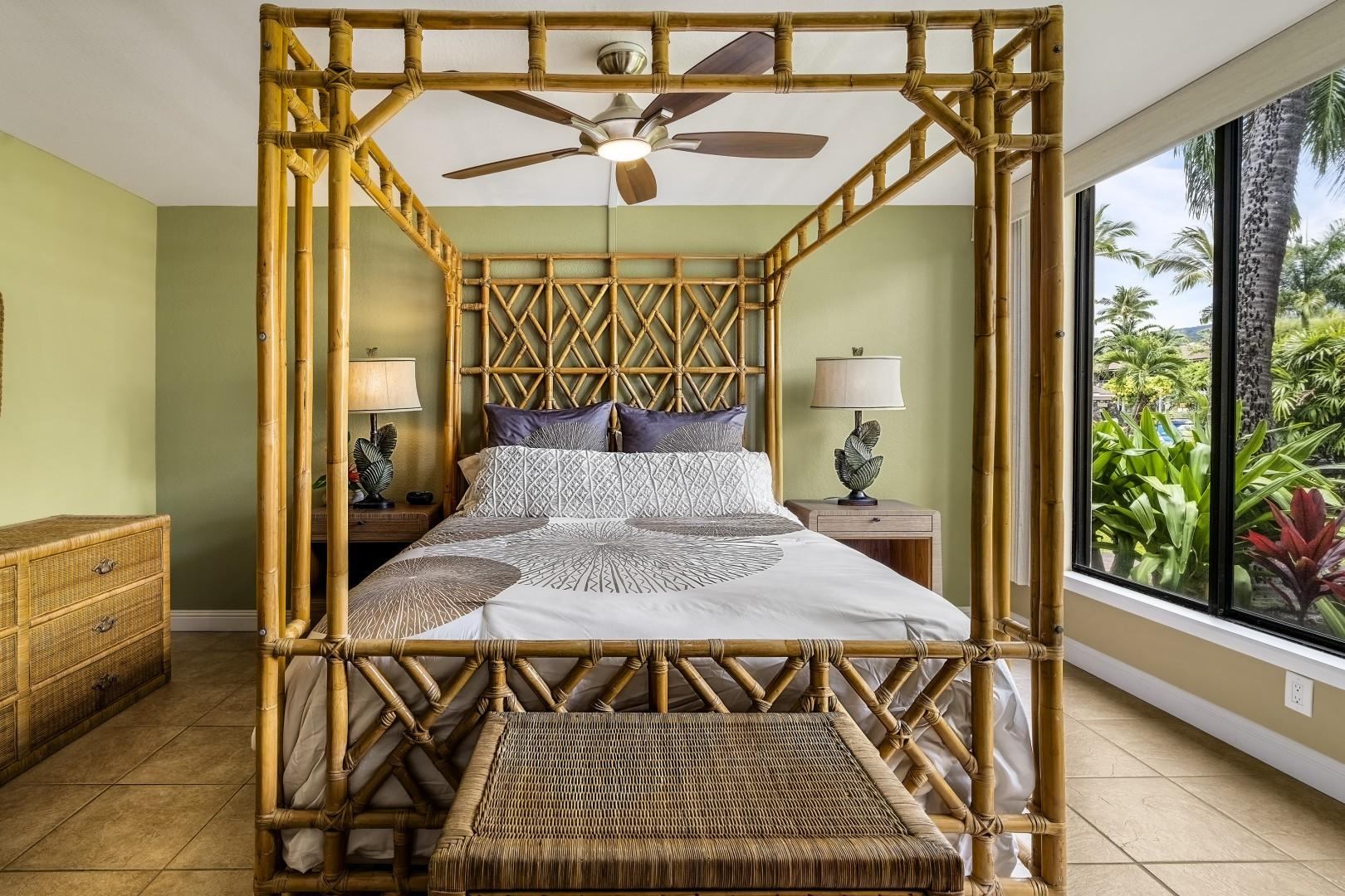Guest bedroom equipped with Queen bed, and garden views