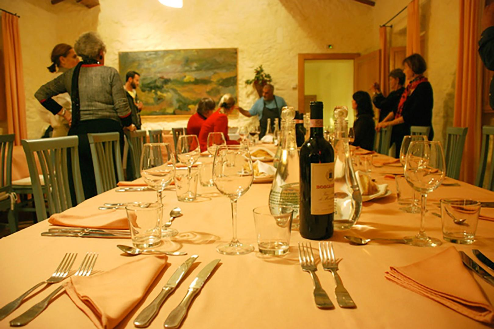 A group dinner is served in the estate dining room situated right off the courtyard.