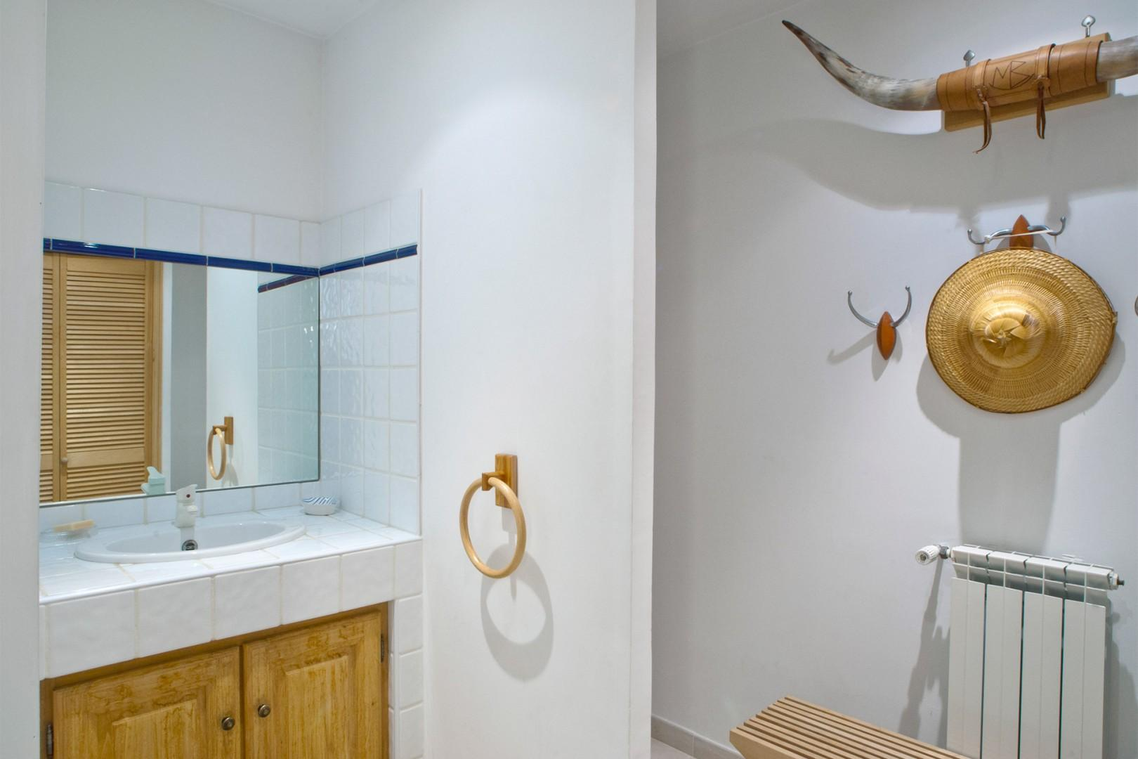Separate shower and sink in bathroom five located in the pool house