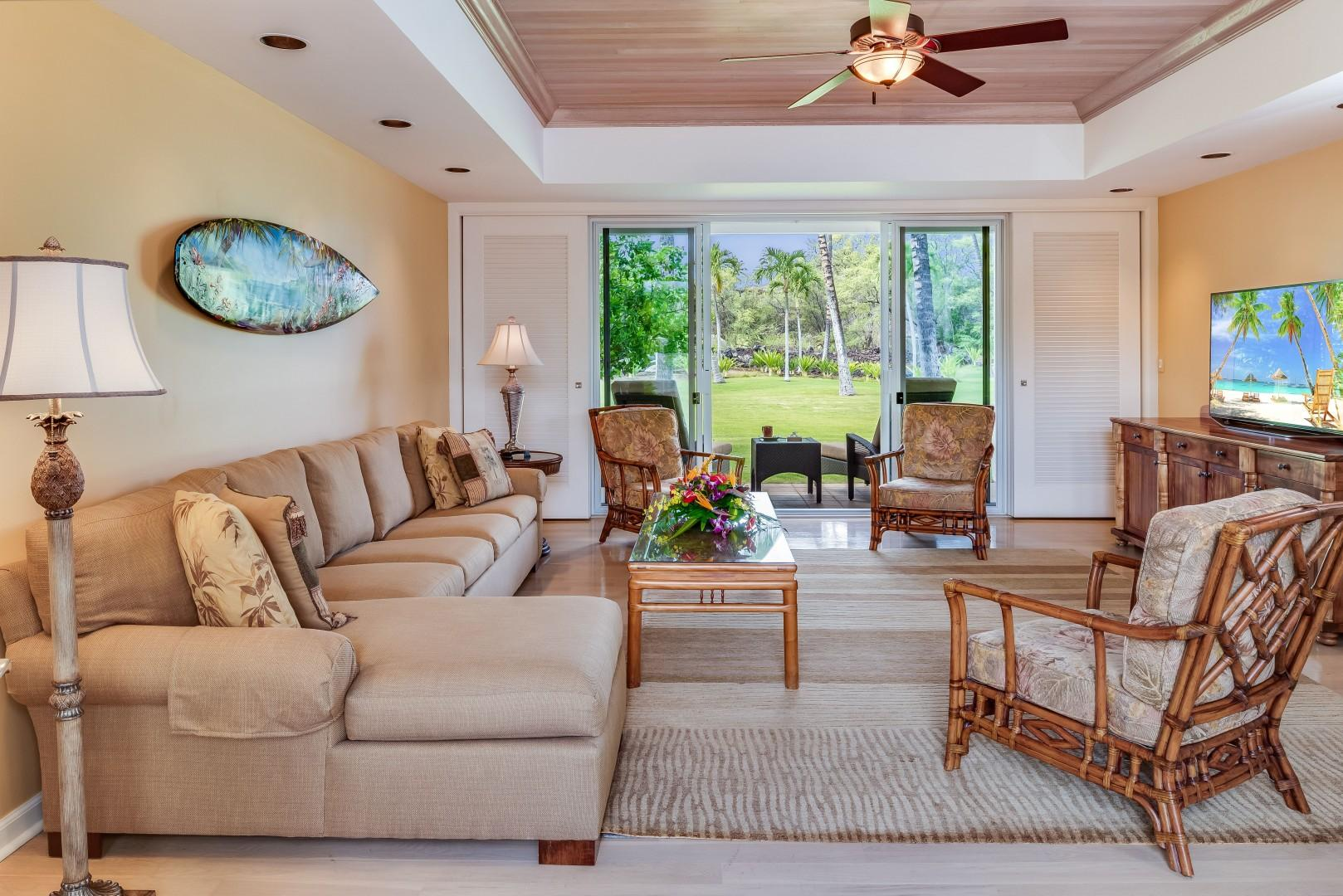 Spacious Living Room Opens to Beautiful Landscaped Grounds!