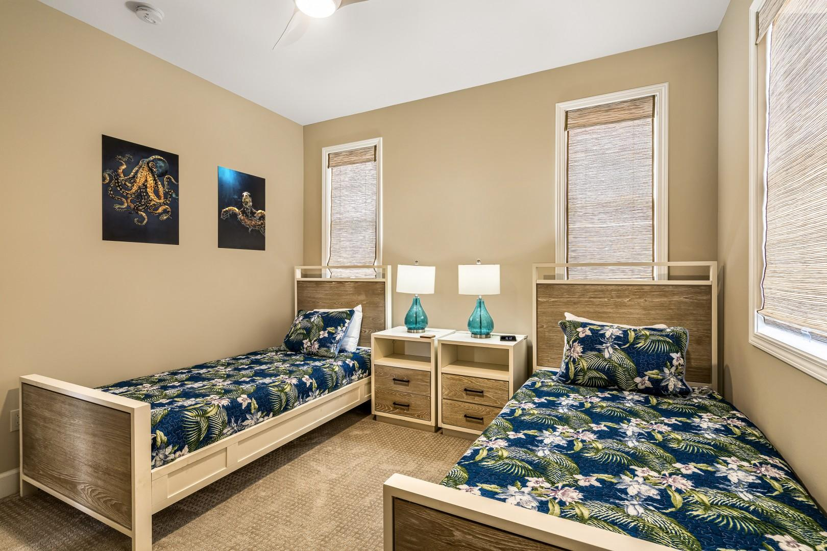 Upstairs guest bedroom with combinable Twin beds & a pack and play which can be found in the closet