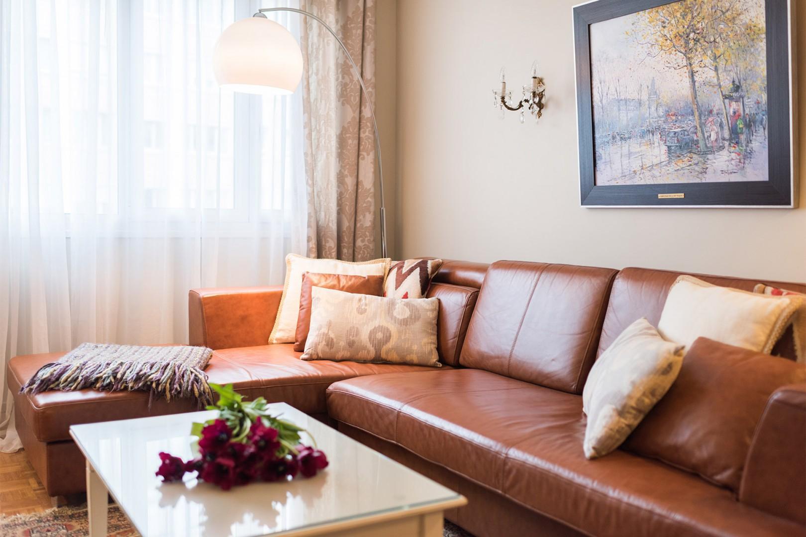 Kick back on the stylish and comfortable sofa.