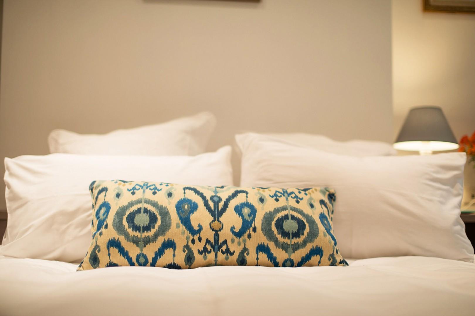 Enjoy the luxurious bedding.