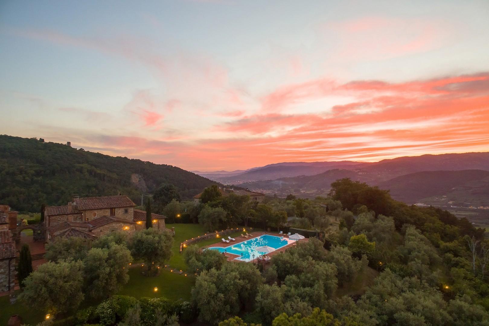 The hilltop vantage point provides wonderful views of Montecatini below.