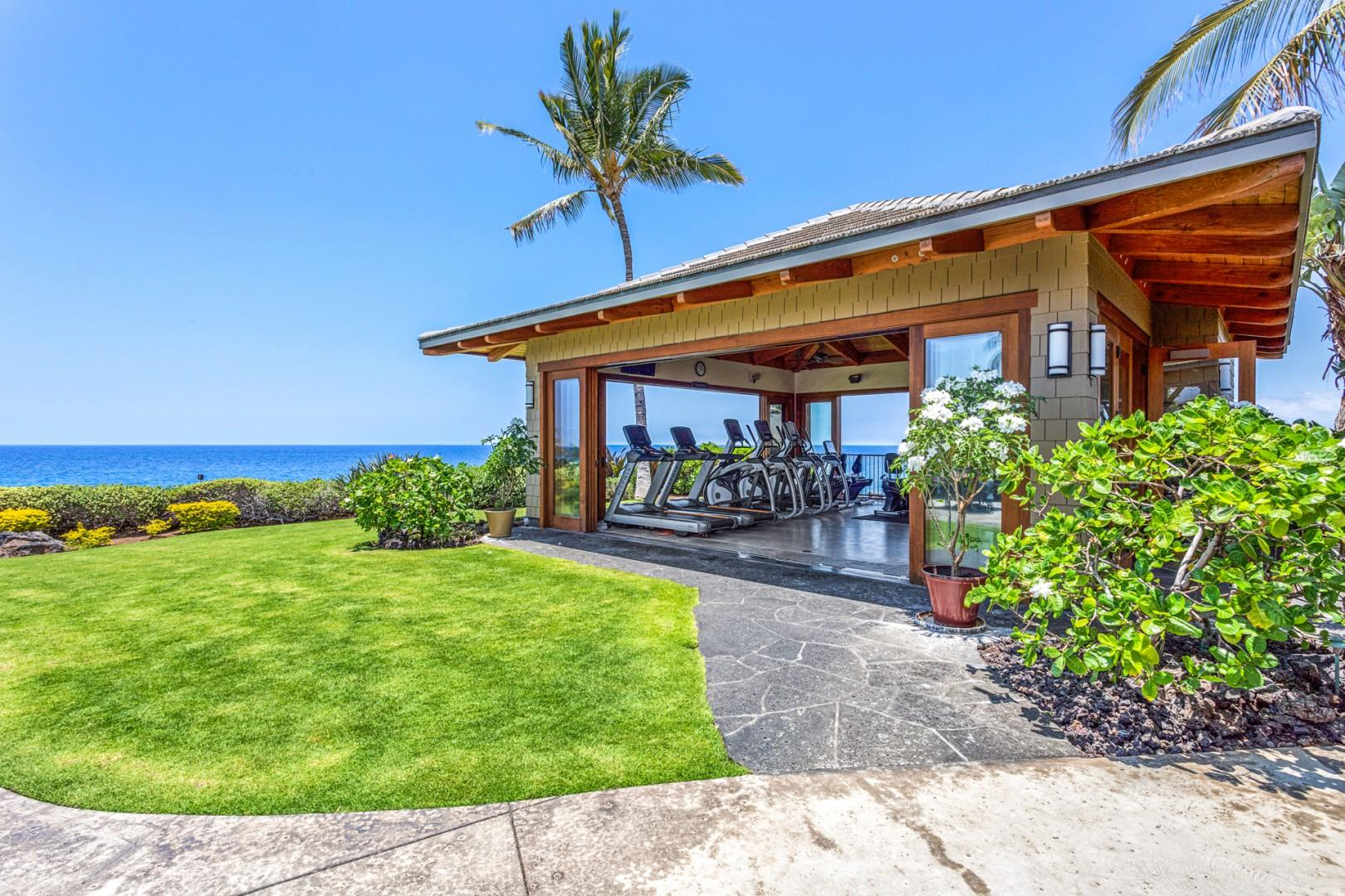 Hali'i Kai's epic open air fitness center with panoramic ocean and coastline views.