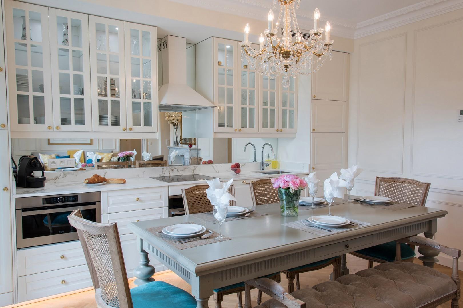 The 7th arrondissement apartment exudes the classic Parisian luxury.