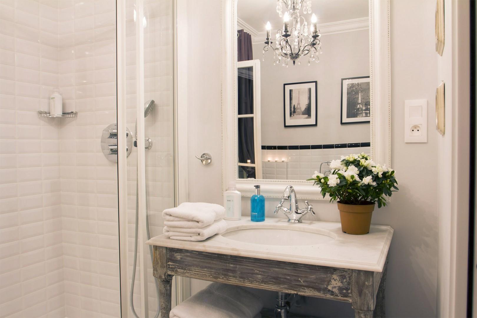 Pamper yourself in this elegant, romantic bathroom.