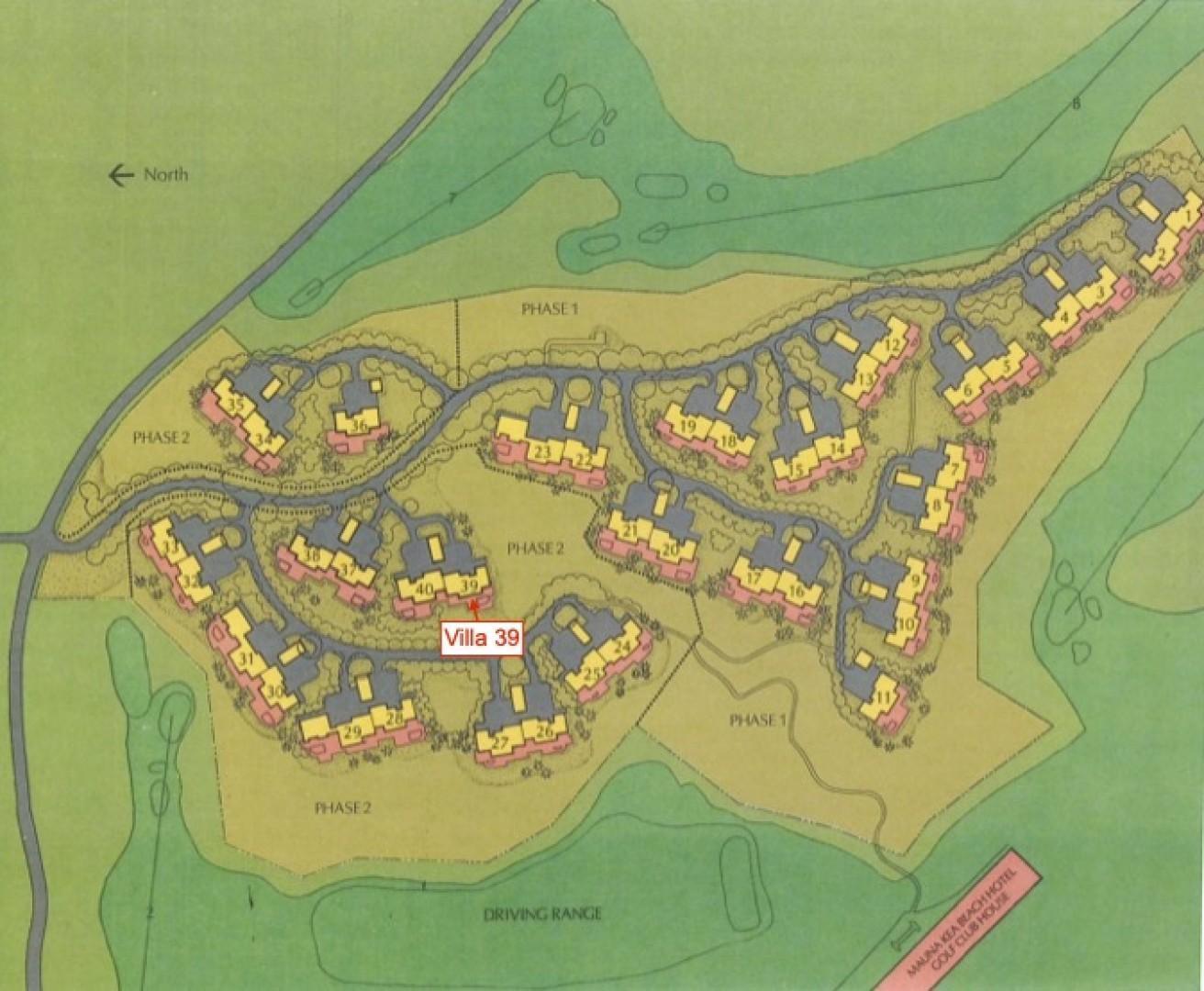 Villas at Mauna Kea Resort Community Map Showing Location of Villa 39