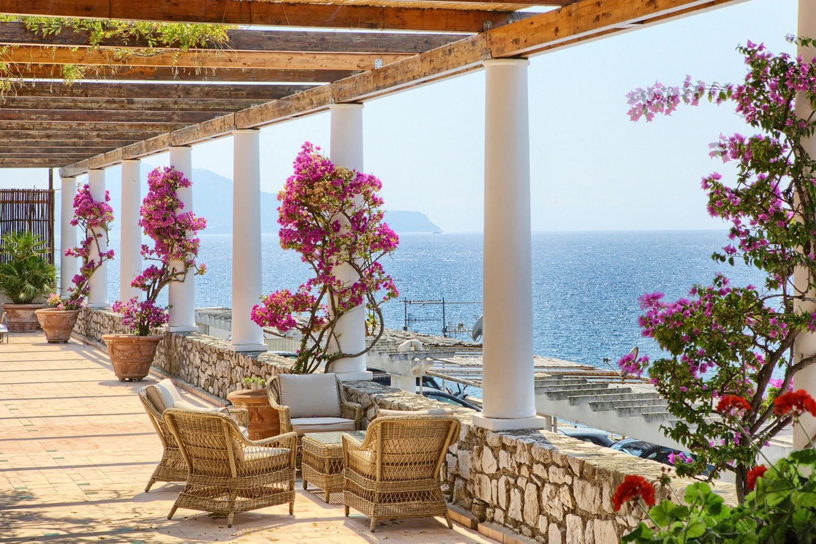 The large terrace of Villa Mare overlooks the beautiful Mediterranean sea.