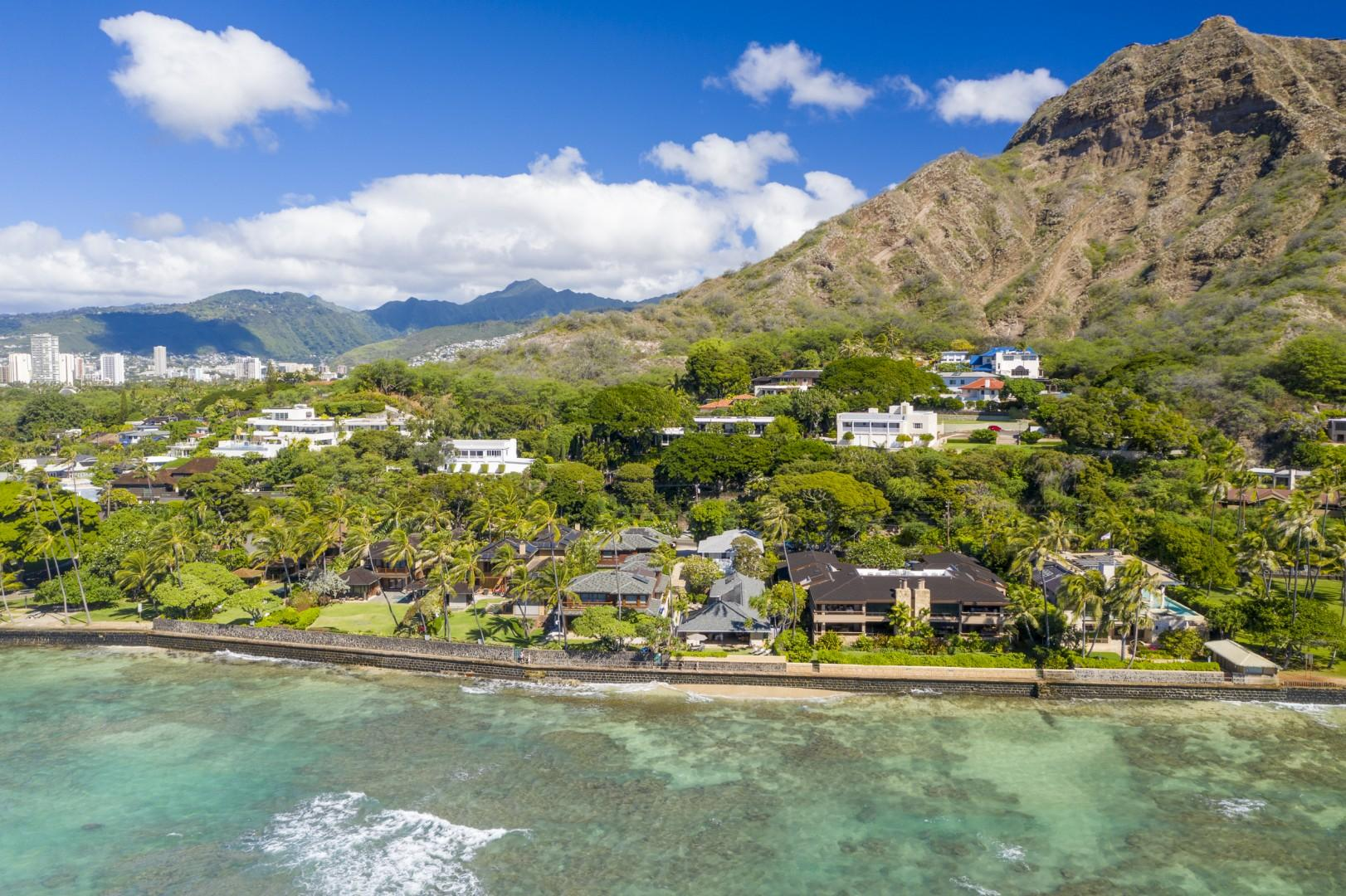 Aerial Oceanside View of Home and Diamond Head.