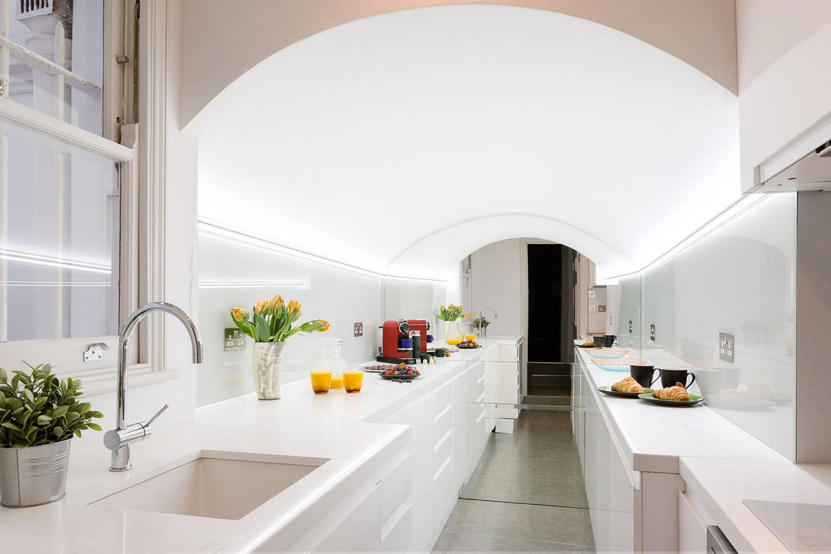 Sleek, fully-equipped kitchen