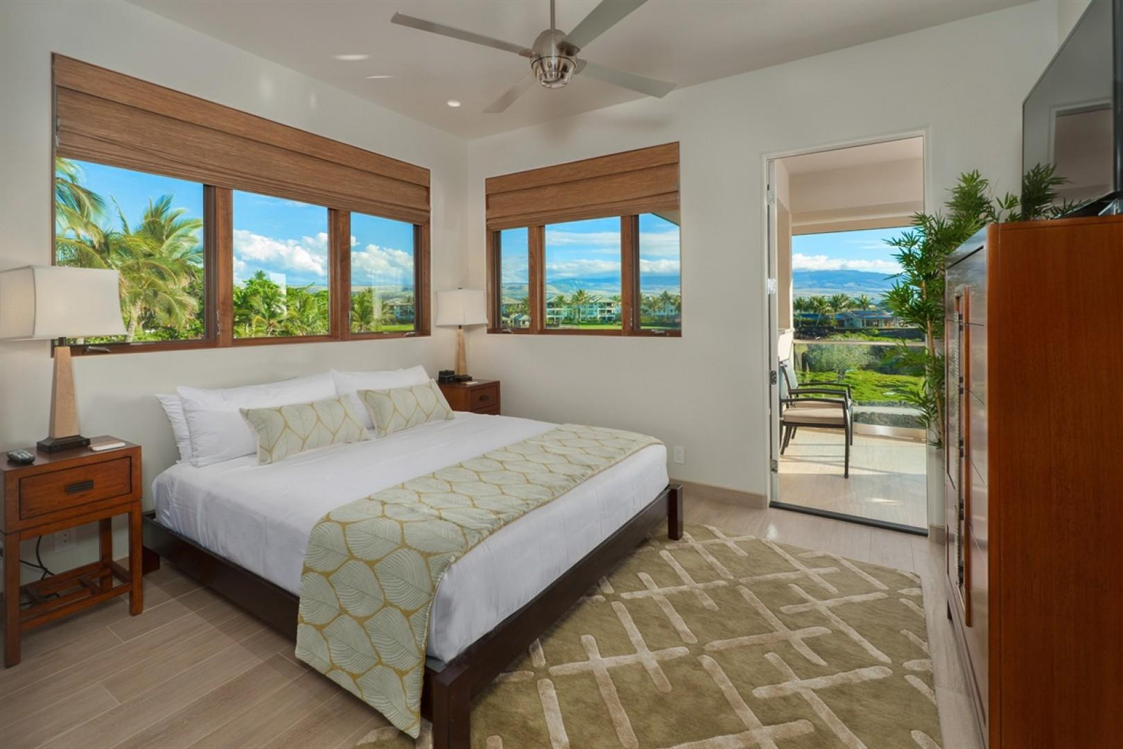 Guest bedroom 8 (upstairs) with Cal King bed, flat screen television and outdoor upper lanai access.