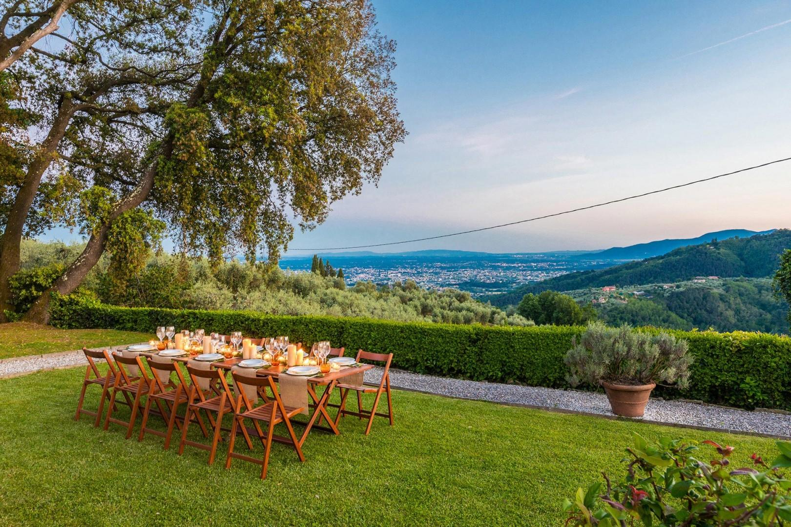 Gather around the table on the terrace behind the house with views of Montecatini in the background.