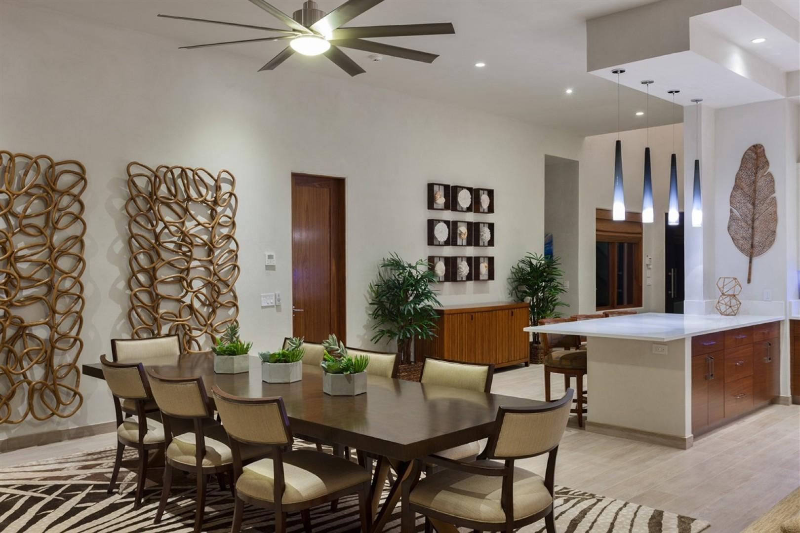 Formal indoor dining area for eight.