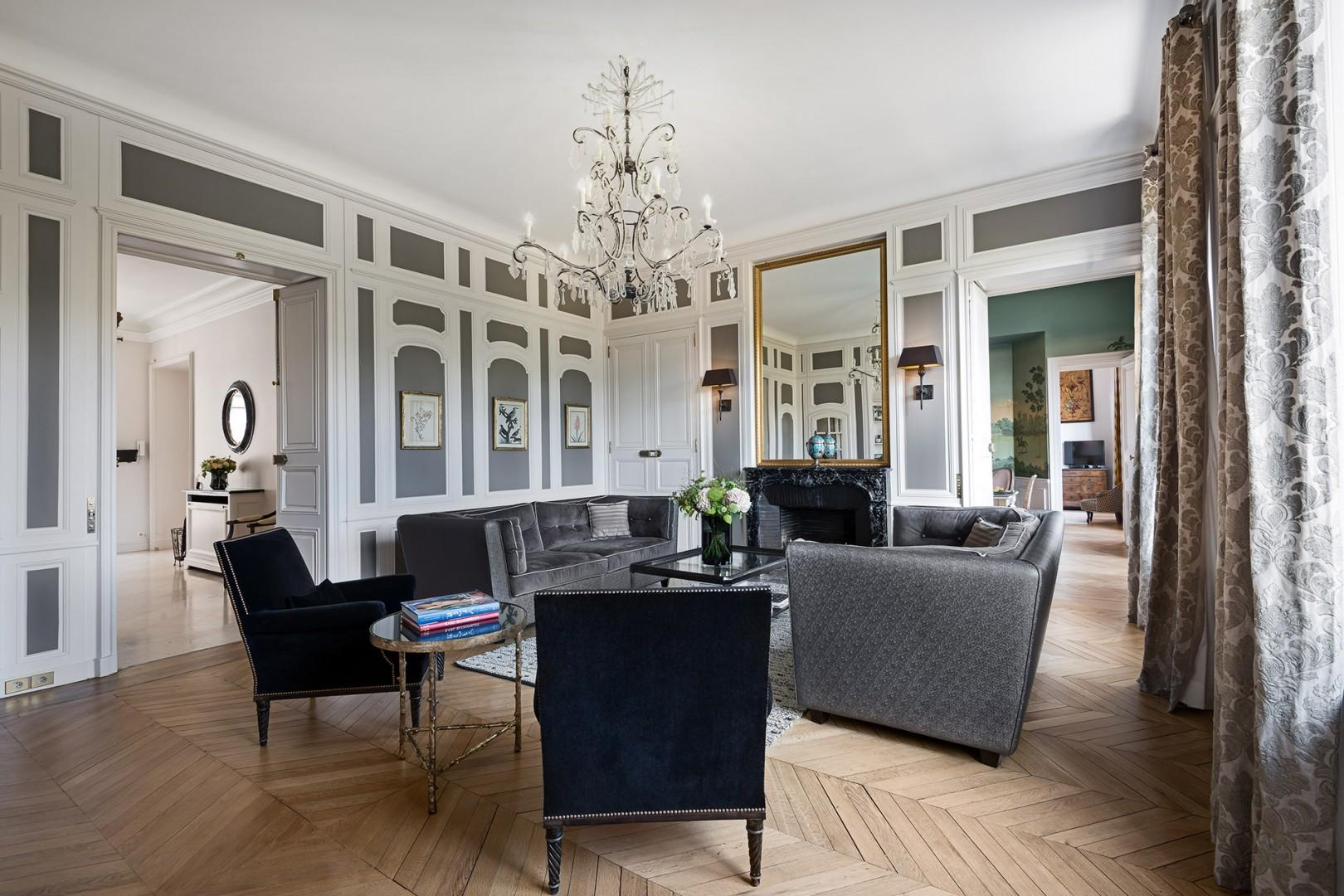 The elegant interior perfectly reflects the grandeur of its palatial setting.