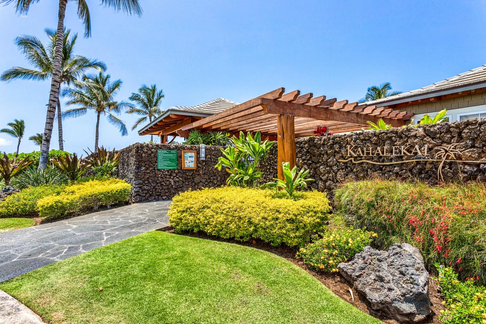 Hali'i Kai's ocean front amenities center entrance, just steps away from the condo.