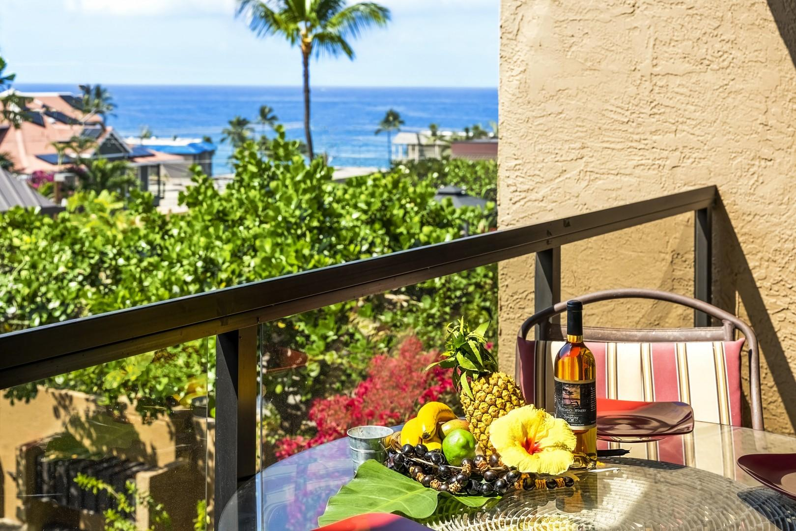 Enjoy dining on the Lanai with the ocean backdrop!
