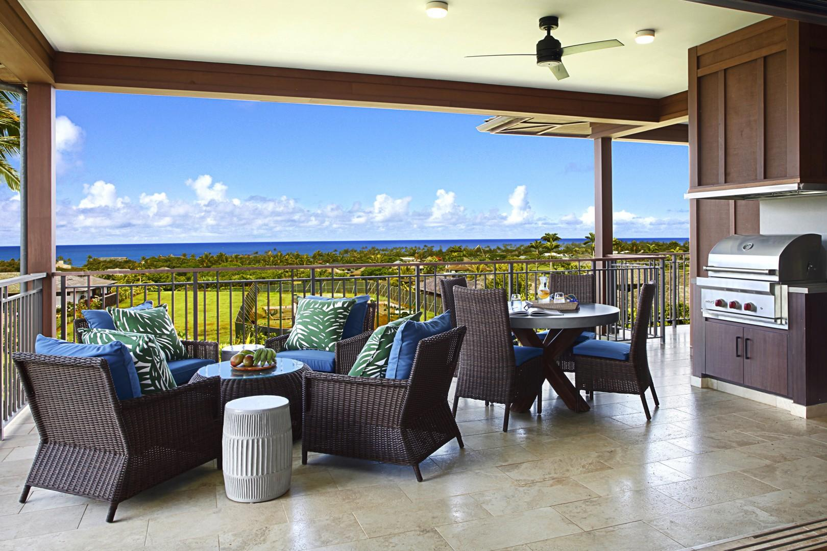 Lanai seating with outdoor dining and gas BBQ