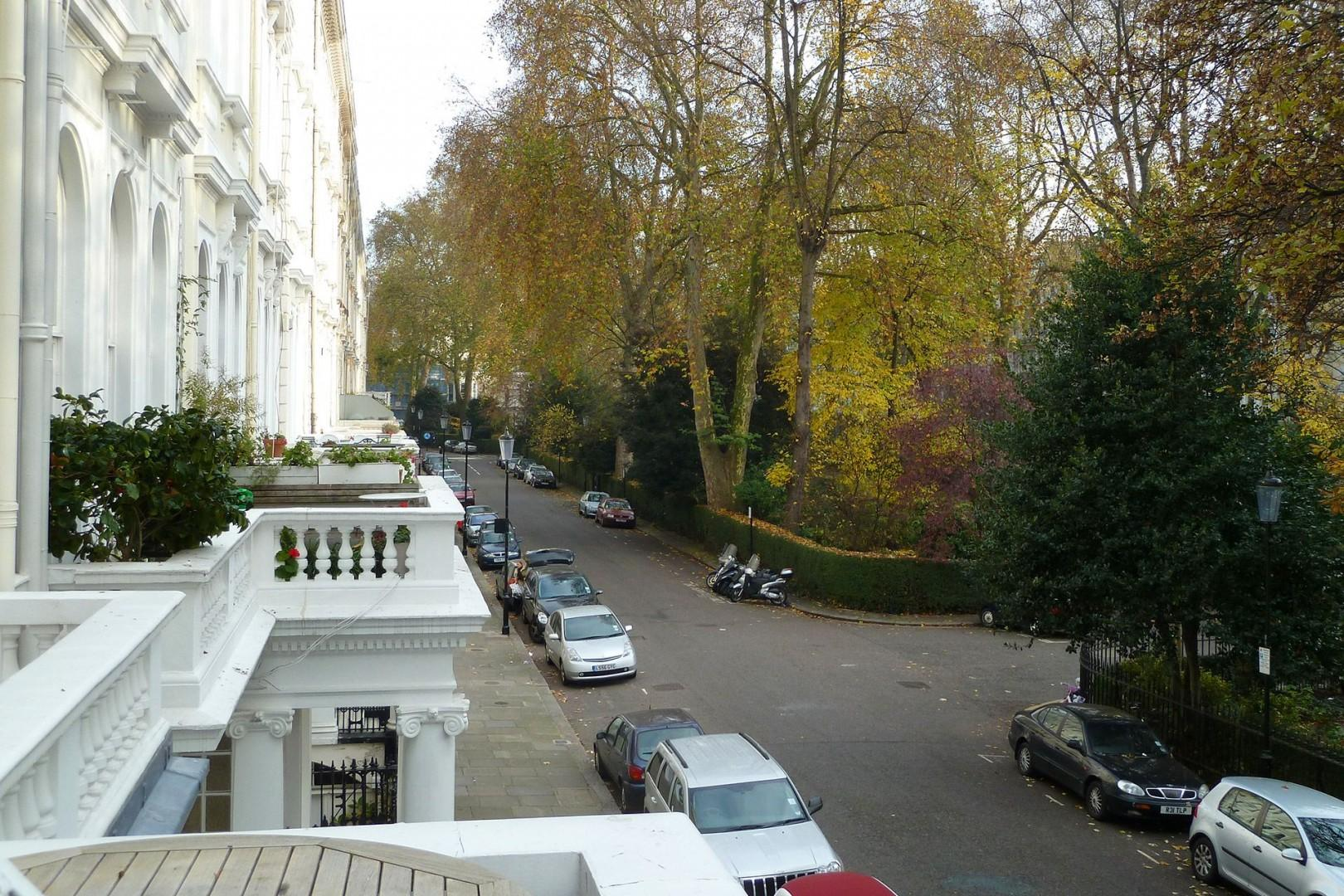 View down the charming street from the balcony