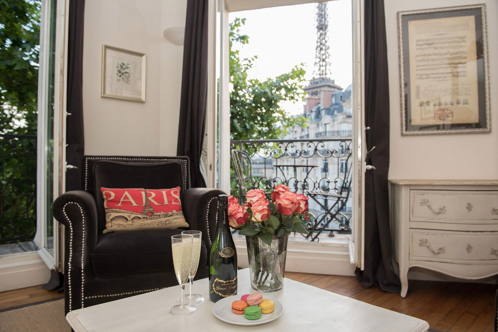 Welcome to the Champagne rental with stunning Eiffel Tower views!